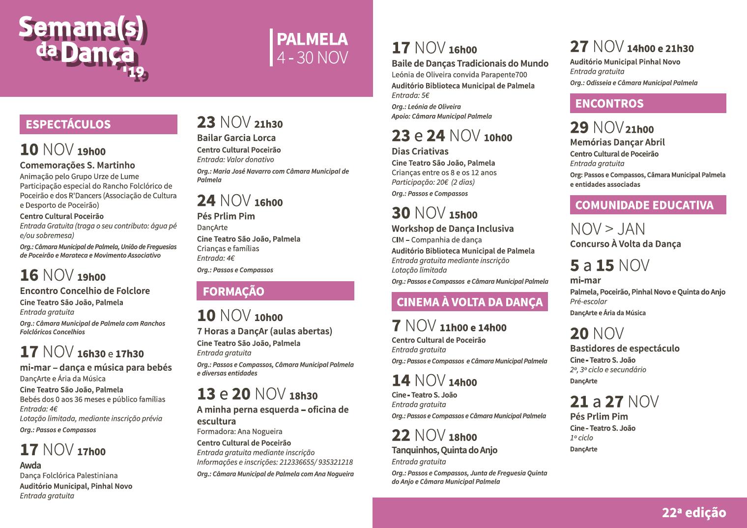 Programa -Semana da Danca 2019 - Palmela